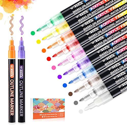 WOTEK Acrylstifte für Steine,Acrylfarben Marker Stifte Set mit 2 Outline Stifte für Kinder,Wasserfestes Steine Bemalen Stifte für die Schule/Tassen/Glas/Metall/Holz/Leinwand/DIY-12 Farben