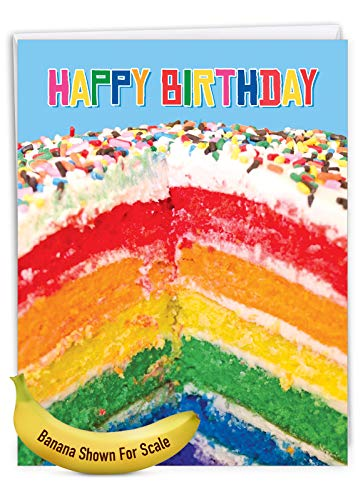 Large Birthday Greeting Card With Envelope 8.5 x 11 Inch - 'Rainbow Cakes' Happy Appreciation Card - Sliced Rainbow Cake Sprinkled With Rainbow Sprinklers On Top - Birthday Cake Card J6565FBDG Photo #7