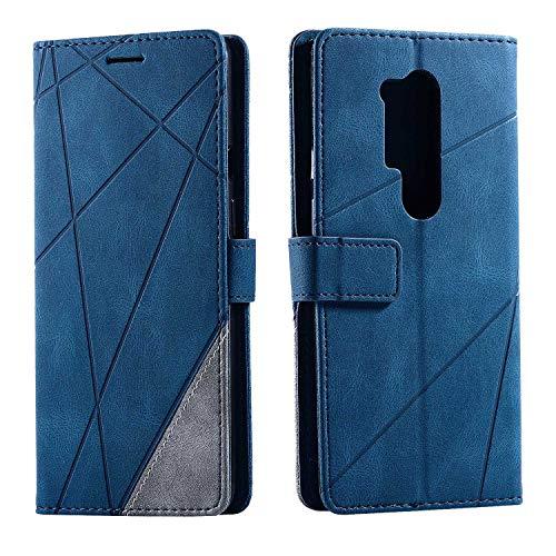 Hülle für OnePlus 8 Pro, SONWO Premium Leder PU Handyhülle Flip Hülle Wallet Silikon Bumper Schutzhülle Klapphülle für OnePlus 8 Pro, Blau