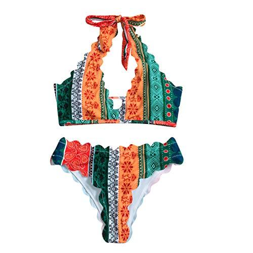 YANFANG Traje De BañO Bikini con Espalda Abierta ImpresióN Dividida Sexy Mujer Relleno Mujeres Sujetador...