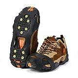 Crampons Antidérapant sur Chaussures/Bottes 10 Clous à Neige Grips Crampons Pointes Glace Traction pour Randonnée Pêche Escalade Marche Sports de Plein Air