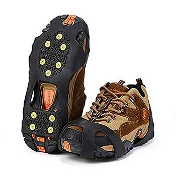 Crampons Antidérapant sur Chaussures/Bottes 10 Clous à Neige Grips Crampons Pointes Glace Traction pour Randonnée Pêche Escalade Marche Sports de Plein Air - L