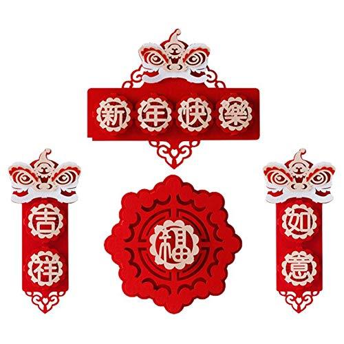 WeiX Bandera de Navidad,Coplas del Festival de,Danza del león Creativo Decoraciones de año Nuevo Festival de Primavera Colgantes de pareado Pareado de año Nuevo, Colgante de decoración de Interiores