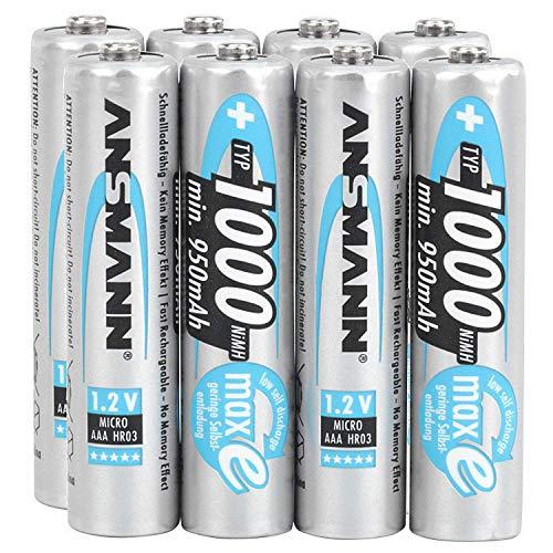ANSMANN Akku AAA Micro Typ 1000mAh - 1.2V - NiMH Akku Batterien AAA für Geräte mit hohem Stromverbrauch - ideal für Kamera, Blitz, LED Taschenlampe - 8 Stück