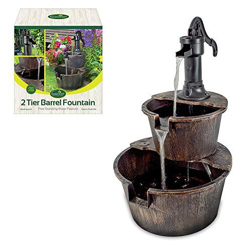 GardenKraft 20890 2-Tier Barrel Water Fountain with Pump - Bronz