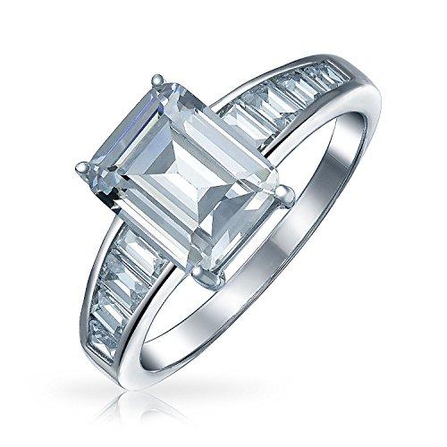 Bling Jewelry Art Déco-Stil 4 Ct Quadrat Asscher Cut AAA CZ Seite Baguette Band Solitär Verlobungsring 925 Sterling Silber Für Damen