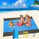 Beach Blanket Waterproof Sandproof, Quick Drying Picnic Blankets 79' x 83' for 5-6 Persons, Beach Mat Sand Free Waterproof, Portable Bag and 4 Anchors for Beach Festival, Hiking and Outdoor Camping