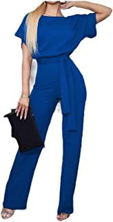 neveraway Women's Pure Colour Lace Up Detail Fashion Straight Jumpsuits Rompers