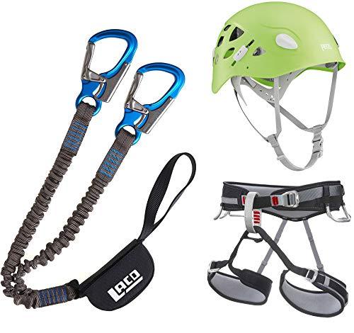 LACD Damen Klettersteigset Pro Evo + Gurt Start + Petzl Helm Elia Green 52-58cm (Gurt Größe S)