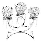 Sharplace 3-Arm Kristall Votive Teelicht Kerzehalter Kerzenständer Kerzenleuchter - Silber