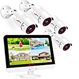 ANRAN 1080P Security Camera System Home Outdoor with 13Inch LCD Monitor DVR,4CH 5MP-Lite