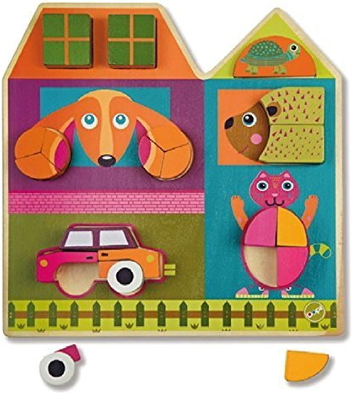 Oops Little Helper 3D Vibrant and Colourful Wooden Tree Puzzle with Animals and Car (19 Pieces) by Oops