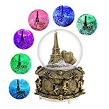 DELIWAY Eiffel Tower Musical Snow Globe with Automatic Snowfall and Colorful Lights, 100mm 6' Tall Souvenirs Collection (Gold Tower)