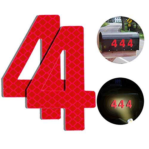 Reflektierende Hausnummer 4 aus Edelstahl, 7cm Selbstklebende Hausnummer, Klebend Hausnummer Schild zum Aufkleben für Briefkasten/Mailbox/Wand/Straßen und Tür (2er Pack)
