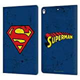 Head Case Designs Licenciado Oficialmente Superman DC Comics Gastado Logotipos Carcasa de Cuero Tipo Libro Compatible con Apple iPad Air (2019)