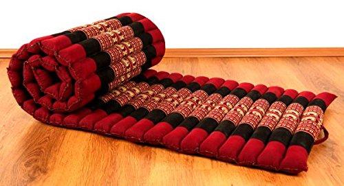 livasia Asia WOHNSTUDIO ROLLMATTE, Kapok Rollmatte in 190cm x 50cm x 4,5cm der Marke Asia Wohnstudio; Liegematte BZW. Yogamatte, Thaikissen, Thaimatte als asiatische Rollmatratze (Rot/Elefant)