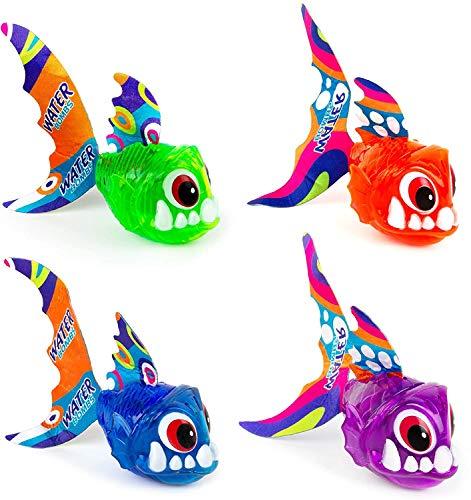TONINI Light Up Piscina Juguetes, Piranha Piscina Sea Animales de Juguete Juguetes y Juegos for niños pequeños for niños de Las Muchachas Infantiles y los niños de 1-3 años (4 PCS)