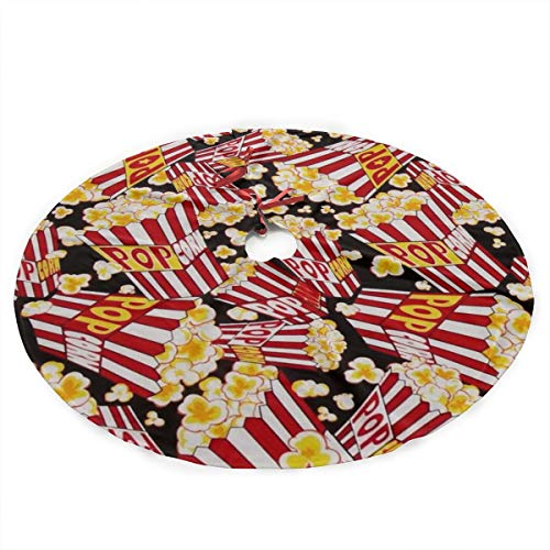 Surwoaly Christmas Tree Skirt 36 Inch,Popcorn Tree Skirt Mat Christmas Holiday Party Indoor Outdoor Home Xmas Party Decoration
