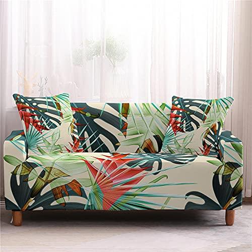 Surwin Sofabezug Sofa Überwürfe 1 2 3 4 Sitzer, Muster Universal Sofahusse Elastische Sofa Abdeckung Stretch Schonbezug Couchbezug für Armlehnen Sofa (Pflanze,2 Sitzer (145-185cm))
