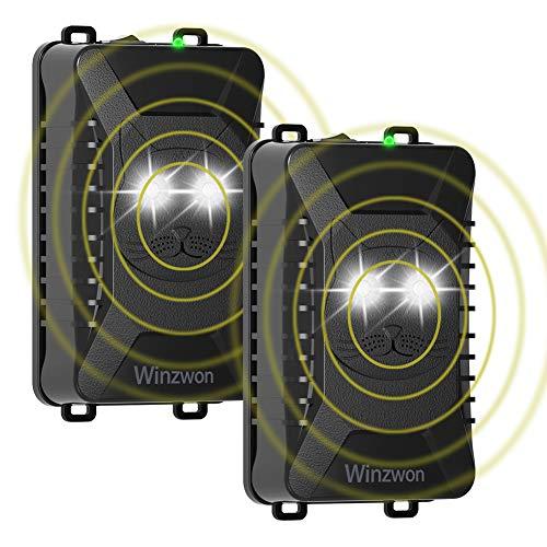 Marderschreck Auto, Winzwon Ultraschall Marderschutz Marderabwehr mit LED-Blitzlichtfunktion für Garage, Motorraum, Haus und Dachboden Anschluss an 12V Autobatterie