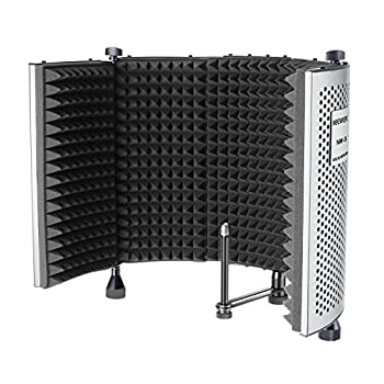 Neewer NW-5 Foldable Adjustable Portable Sound Absorbing Vocal Recording Panel Aluminum Acoustic Isolation Microphone Shield with High-Density Foam Non-slip Feet for Stand Mount or Desktop Use