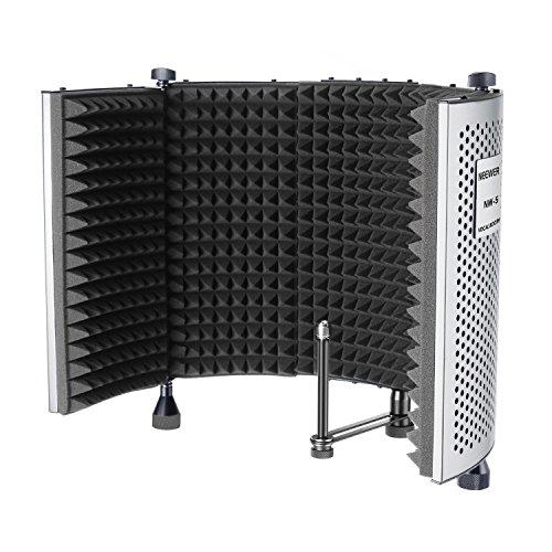 Neewer NW-5 Faltbarer, verstellbarer, tragbarer, schallabsorbierender Gesang Aufnahme Panel, Aluminium-Akustik-Isolation Mikrofonabschirmung mit hochdichtem Schaum, rutschfeste Füße