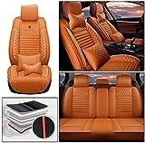 カーシートカバー(フロントシートカバー+リヤシートカバー) ラグジュアリーシートカバー 防水PUレザーフルシートカバー ダイハツ for Daihatsu ミライース に適した5シートスカートラップタイプシートカバー オレンジ色