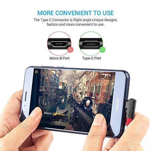 SUNGUY 90 Grad USB C Kabel 2M [2Pack] Winkel USB 2.0 Schnellladekabel Typ C Datenkabel für Samsung Galaxy S10 S9 S8 Plus/Note 10, Moto G7 G6,Redmi Note 7