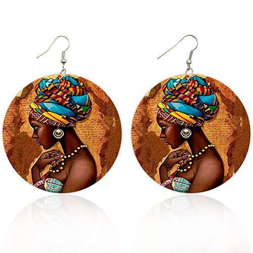 1 Par De Pendientes Africanos Para La Cabeza Para Mujer, Pendientes De Gota De Madera, Joyería De Pintura Lateral Étnica Afrocéntrica Para Regalos Para Negros