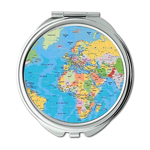 Yanteng Taschenspiegel, Compact Mirror Rund Compact Mirror Doppelseitig, WeltkarteWallet Spiegel für Männer/Frauen MT 011