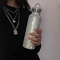 ラインストーン魔法瓶カップ、ダイヤモンド魔法瓶ウォーターボトル、スパークリングハイエンド断熱ボトル、蓋付きウォーターボトルウォーターカップ(チェーン付き) 600ml Silver