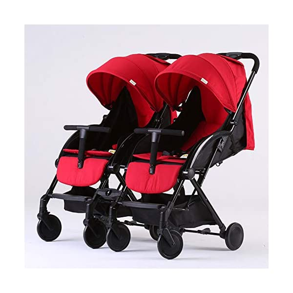 JXCC Double Strollers Baby Pram Tandem Buggy Newborn Pushchair with Adjustable Backrest- Black/Red -Safe And Stylish A JXCC 1. {Multi-angle adjustable}: You can sit down and adjust the angle from 0 to 175 degrees for all occasions. 2. {Light capsule car, detachable and separate}: Only 5.9kg, diamond car, can be on the plane, comfort zone baby, can be a single cart or can be combined into two cars 3. {Two-way implementation}: - Two-way implementation, switching parent-child mode 1