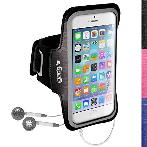 iGadgitz U3044 Antideslizante Brazalete Deportivo Funda Carcasa Compatible con Apple iPhone 6 y 6s 4.7' - Negro