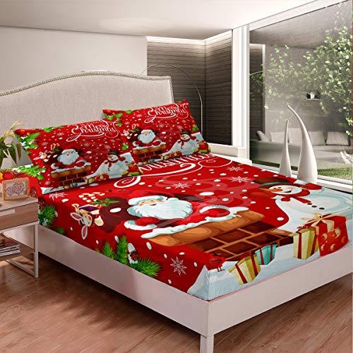 Juego de sábanas de Navidad para niños, diseño de Papá Noel, diseño de muñeco de nieve, sábana bajera ajustable para niños y niñas de microfibra, color rojo, para decoración de habitación tamaño King
