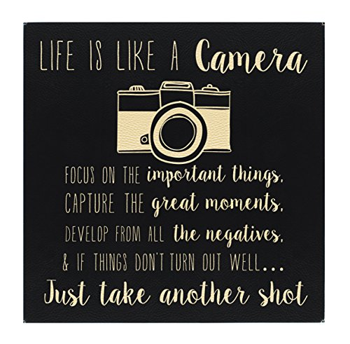 ThisWear Word Art Canvas Life is Like a Camera Inspirational Wall Art Gifts New Homeowner Black Gold Laser Engraved Leatherette 10x10 Wall Art Black/Gold