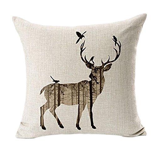 2 PCS Simple Deer Pillow Case Sofa Bed Home Decor Cushion Cover 45x45cm