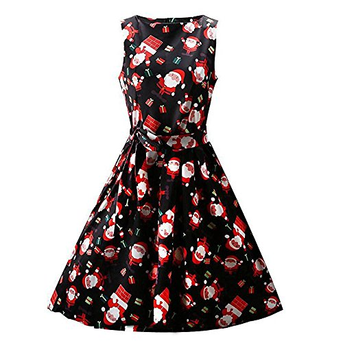 iHENGH Damen Frauen Weihnachtsdruck Pin Up Swing Lace Party Panel Kleid
