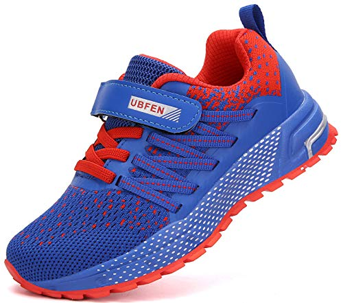 KUBUA Running Shoes Kids Sneakers for Boys Girls Shoes Lightweight Breathable Sport Athletic Blue Red