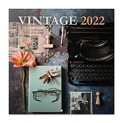 Grupo Erik Calendario Vintage 2022 - Calendario 2022 pared - Calendario 16 meses - Calendario 2021 2022, Calendario mensual - Producto con licencia oficial, Vintage Gris, CP22088