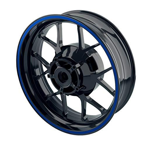 OneWheel Felgenrandaufkleber 8mm Motorrad & Auto (15-19 Zoll) - Farbe wählbar - 10 Felgenstreifen für Vorder- & Hinterreifen (Blau - glänzend)