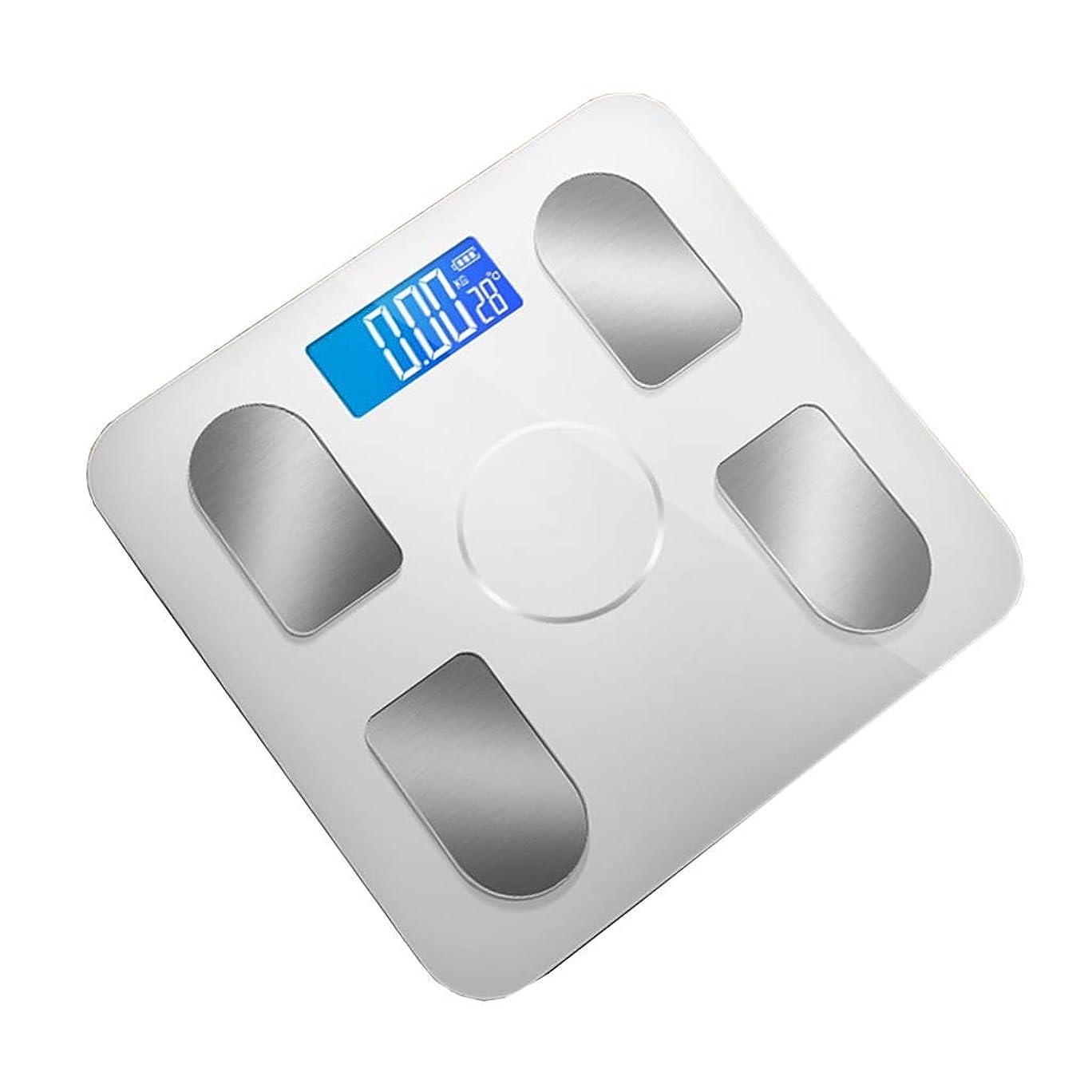 接地お肉翻訳する体重計 高精度デジタルバスルームスケール体重計ワイドテンパーガラスプラットフォームステップオンテクノロジー180kg容量ホワイト
