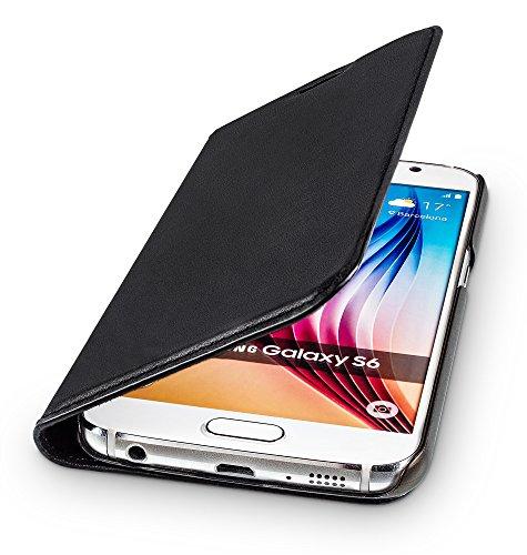 WIIUKA Echt Ledertasche - TRAVEL - für Samsung Galaxy S6 mit Kartenfach, extra Dünn, Tasche Schwarz, Leder Hülle kompatibel mit Samsung Galaxy S6