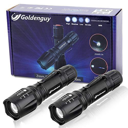 TC1200 Lumen Lot de 2 lampes de poche tactiques super lumineuses avec mise au point réglable 5 modes d'éclairage pour camping, chasse, urgence, blanc, TC 1200 LED Taclight(XML-T6)