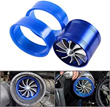 1x Blue Aluminum F1-Z After Market Replacement Air Intake Flow Turbo Single Fan + 2 Rubber Holder For Automotive Car Vehicle Jeep