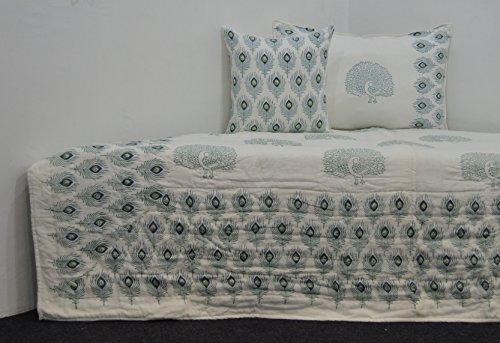 Set van 3 sprei beddengoed katoen gewatteerd 220 x 150 cm en 2 x kussensloop beddengoed dekbedovertrek (Blue geometric UD-6959)
