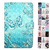 Coeyes Tablet-PC Hülle kompatibel für Universal 10 Zoll (9.5-10.5 Zoll) Tasche Leder Flip Hülle Etui Schutzhülle Cover mit Kartenfach - Blauer Schmetterling Muster Design