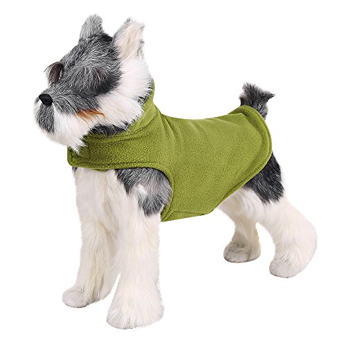 FOREYY Reflective Dog Fleece Coat with Leash Attachment Hole, Dogs Pet Autumn Winter Jacket Sweater Vest Apparel Clothes for Small Medium and Large Dogs(Green,L)