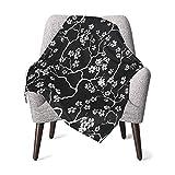 GOWINEU Couverture bébé Respirant Fleurs de Cerisier Couverture de Berceau Noir Floral Optimal pour bébé Filles Taille Pratique 30 X 40 Pouces