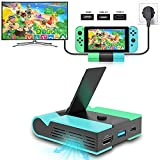 E-MODS GAMING Switch Charging Dock, Portable Charging Station for Nintendo Switch, Foldable Switch TV Dock Station Replacement with 4K HDMI USB 3.0 and Type C Power Ports