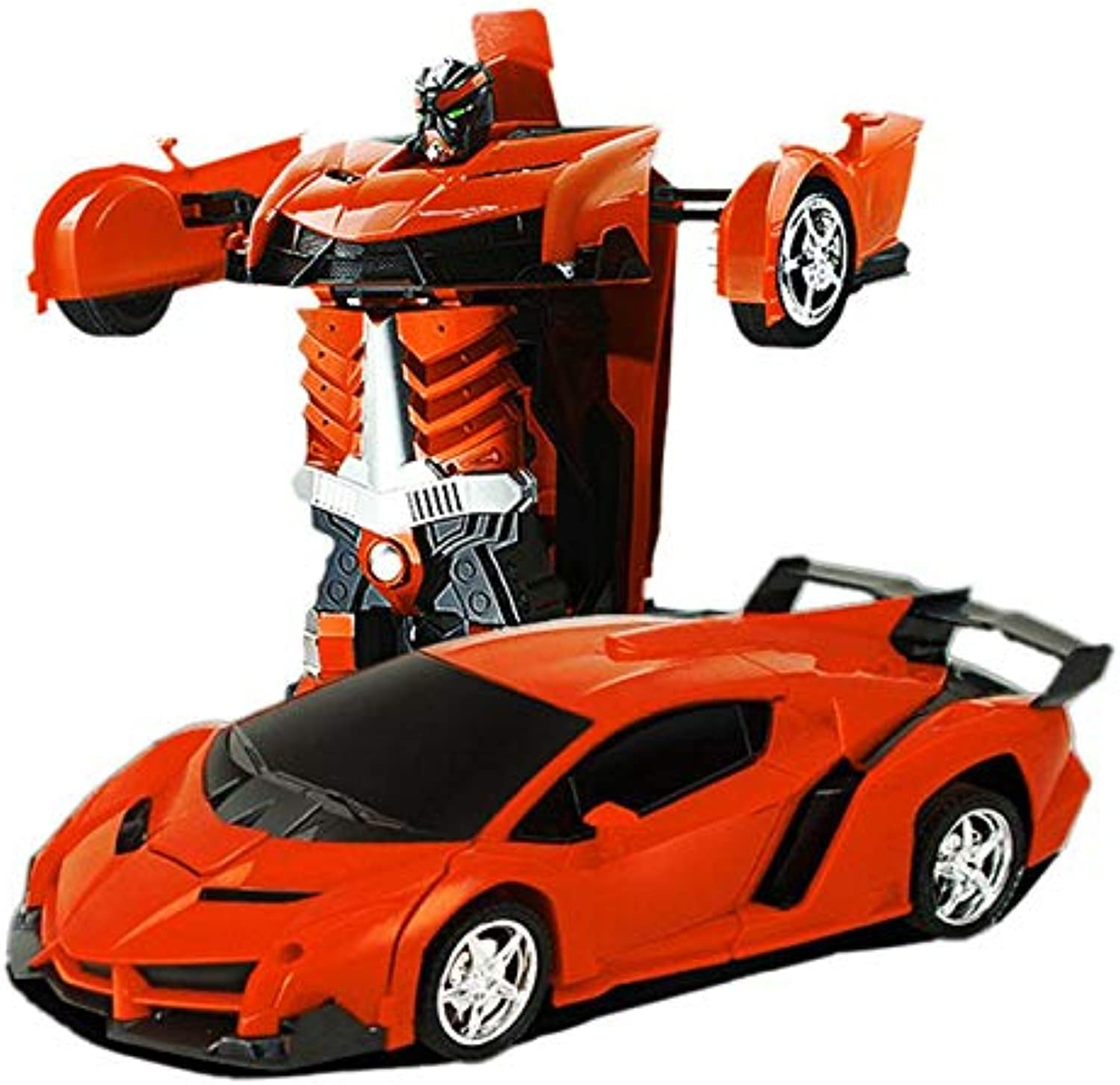 Generic New 2019 2 in 1 RC Car Sports Car Shock Resistant Transformation Robot Toy Remote Control Deformation Car RC Robots KidsToys orange